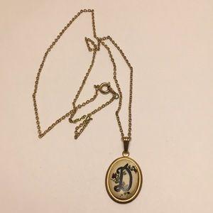 Vintage D Initial Necklace